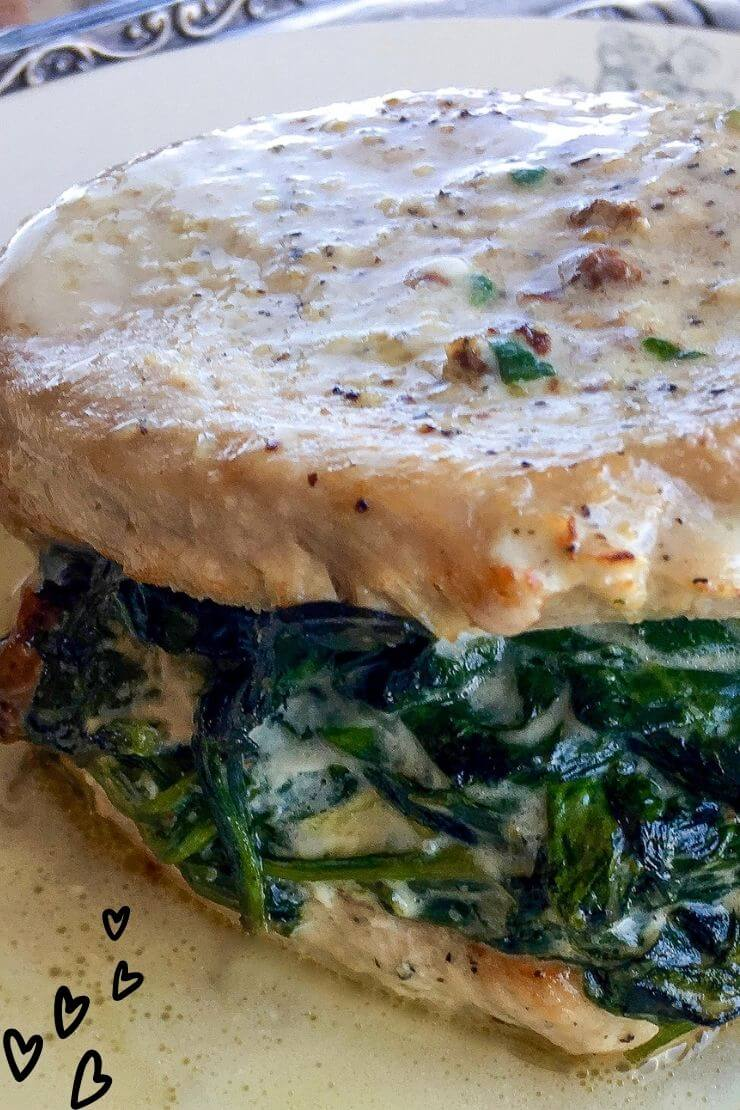 Keto Friendly Creamed Spinach Stuffed Pork Chops