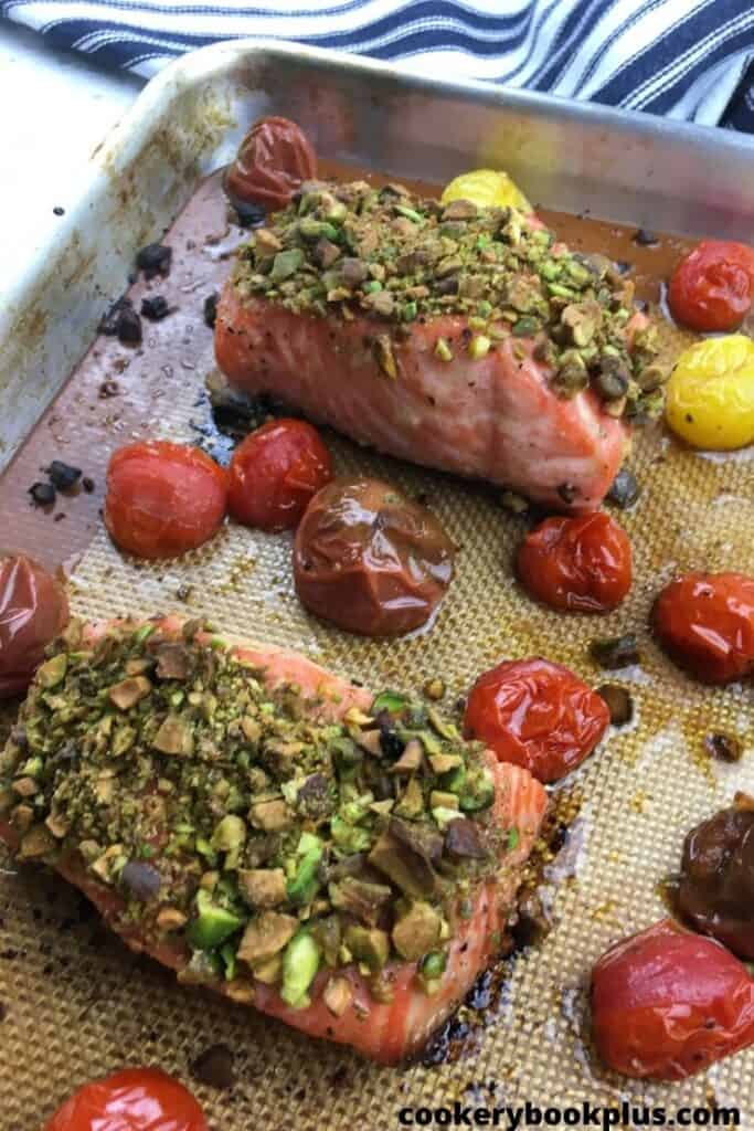 Pistachio-Crusted Salmon with Blistered Cherry Tomatoes - Step 7