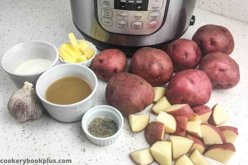 Ingredients Garlic Mashed Red Potatoes.
