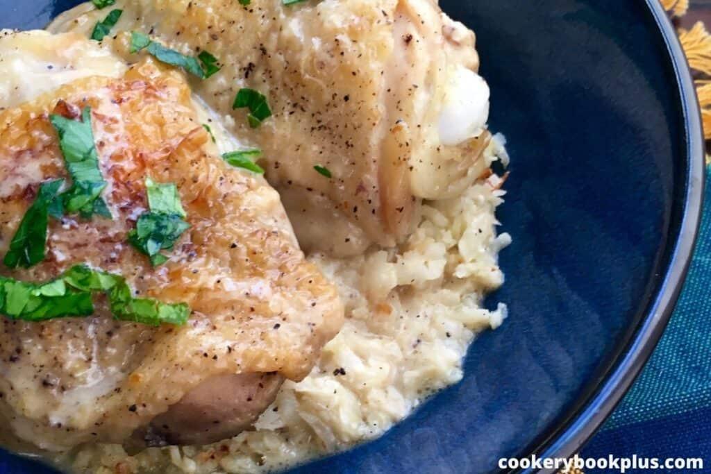 Pickle Braised Chicken with Cauliflower Rice