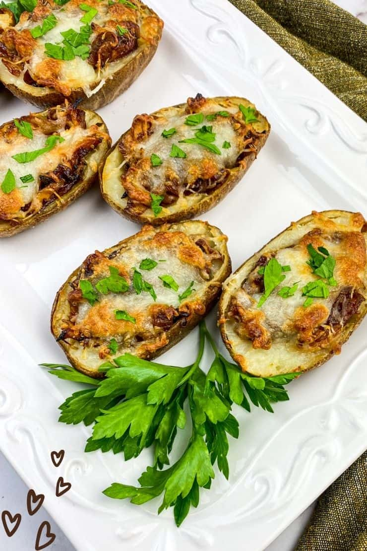Caramelized Onions & BBQ Chicken Potato Skins