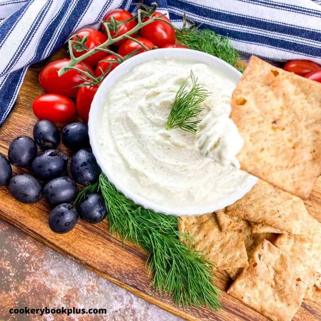 Dip with cherry tomatoes