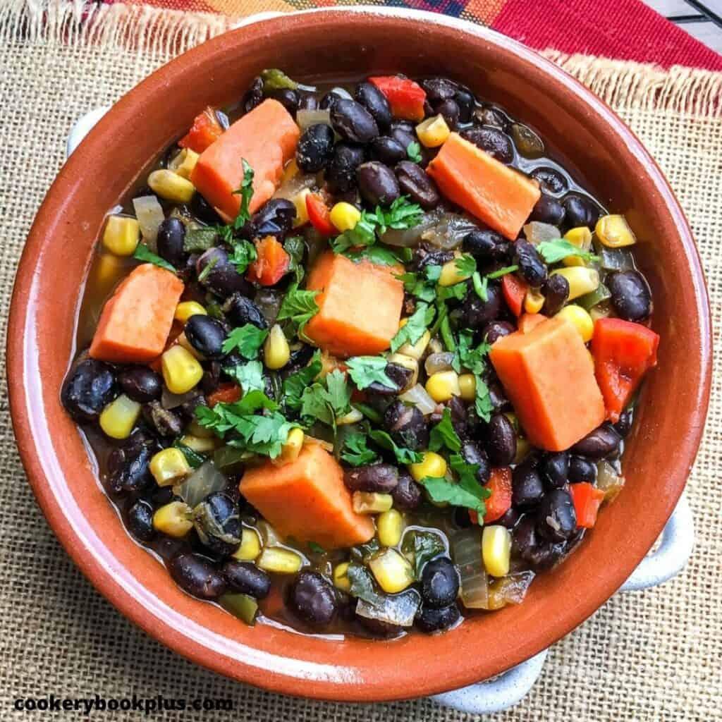 Vegan soup with sweet potatoes